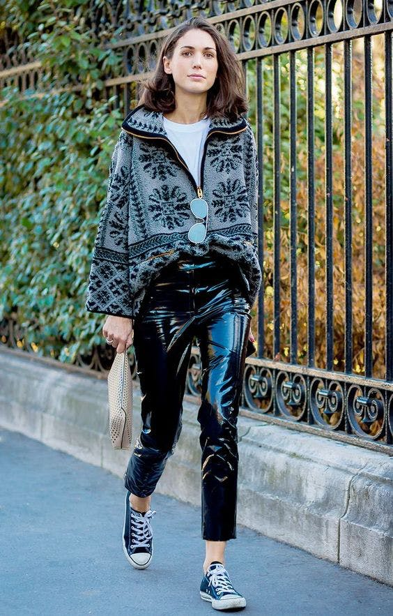 fashion me now mix leather and fleece december outfit ideas