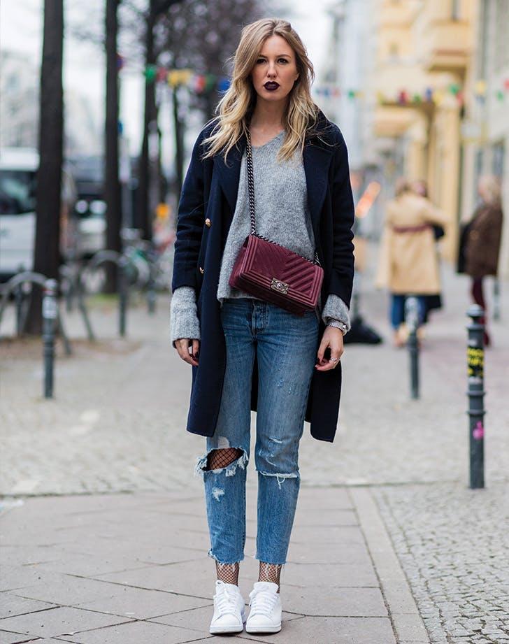 fishnet coat jeans
