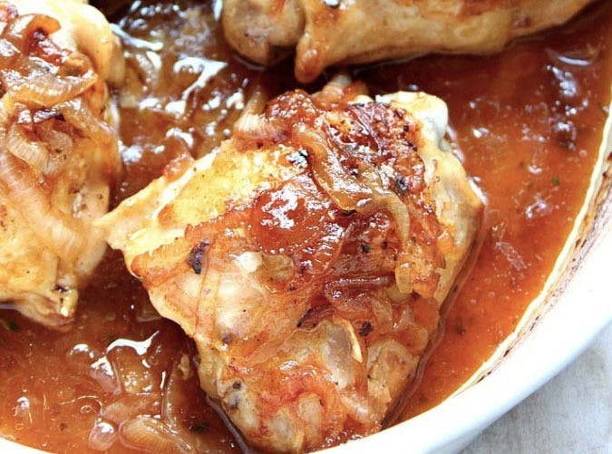 french onion roasted chicken thigh recipe