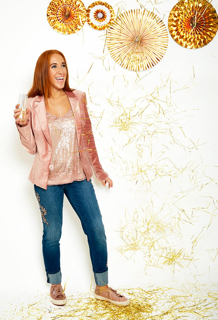 genny whbm blazer and jeans