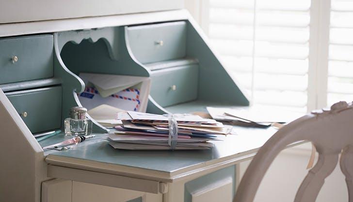 letters on desk