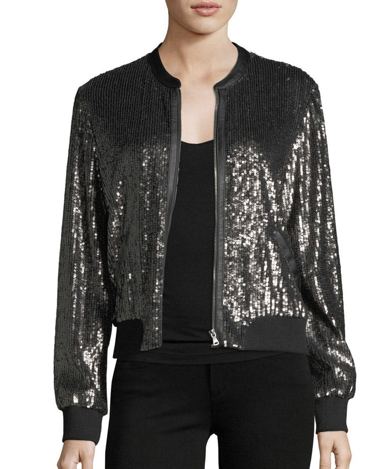 miami sequin bomber jacket