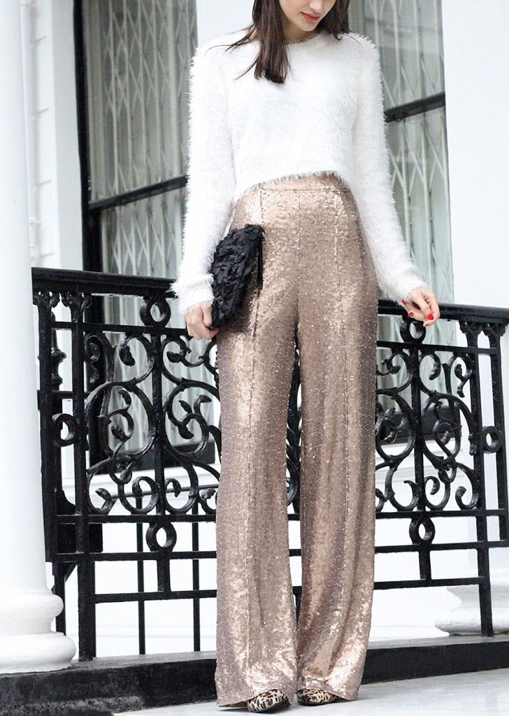 new years eve outfits sequin trousers
