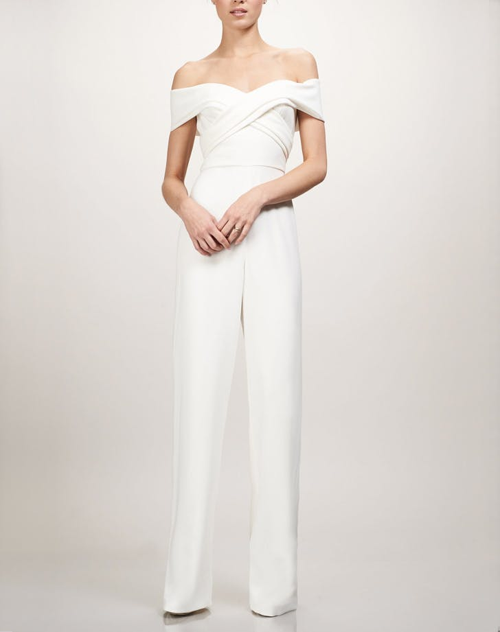 off shoulder white bridal jumpsuit LIST
