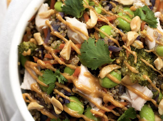 one pan thai quinoa chicken peanut sauce 501