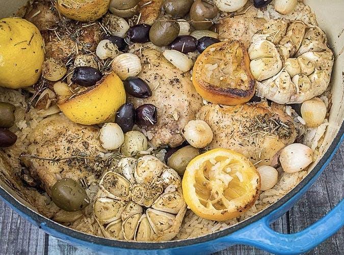 one pot greek chicken lemon garlic olives 501