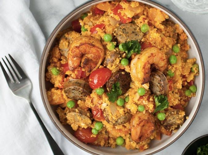 one pot ketogenic cauliflower rice paella recipe 501