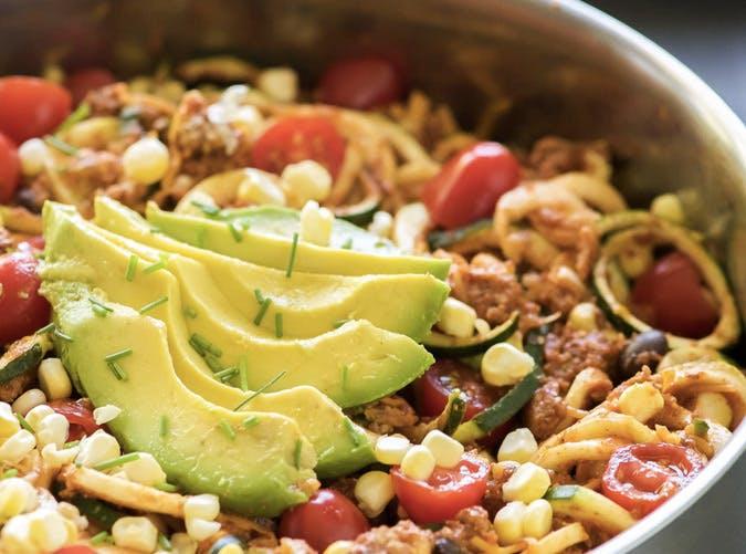 one pot ketogenic cheesy zucchini noodle taco skillet Recipe 501