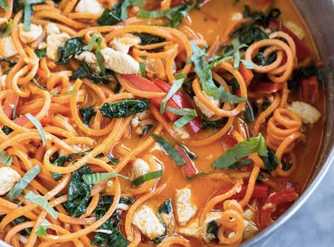 one pot ketogenic thai red curry sweet potato zoodles recipe 501