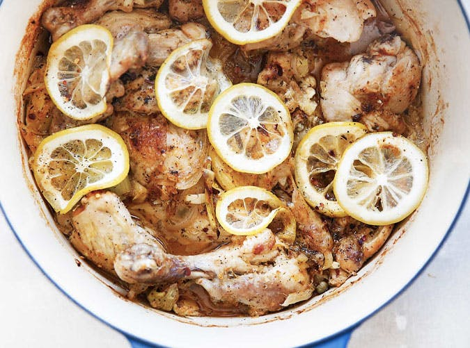 one pot lemon roast chicken garlic artichokes 501