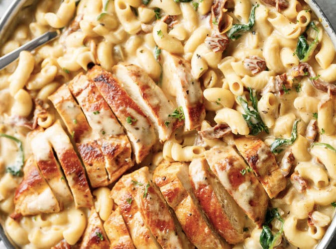one pot tuscan chicken man and cheese 501