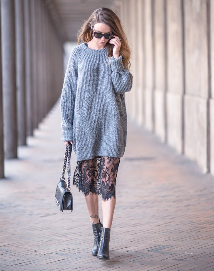 oversize sweater with lace skirt slip new layering ideas