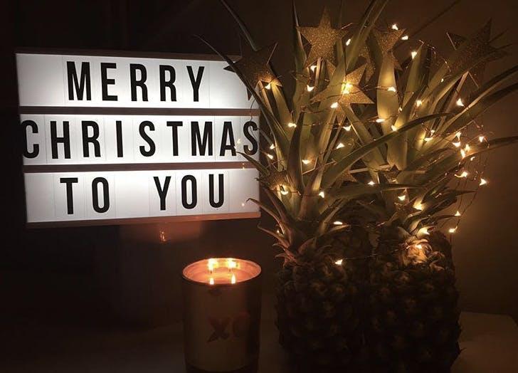 pineapple christmas tree lights stars festive LIST