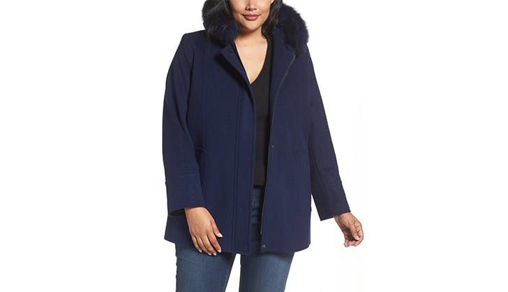 sachi hooded wool blend coat with fur hood