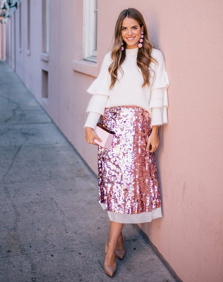 sequin skirt december outfit ideas