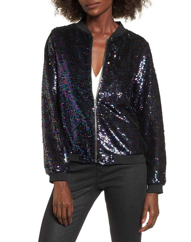 sequined looks bomber jacket