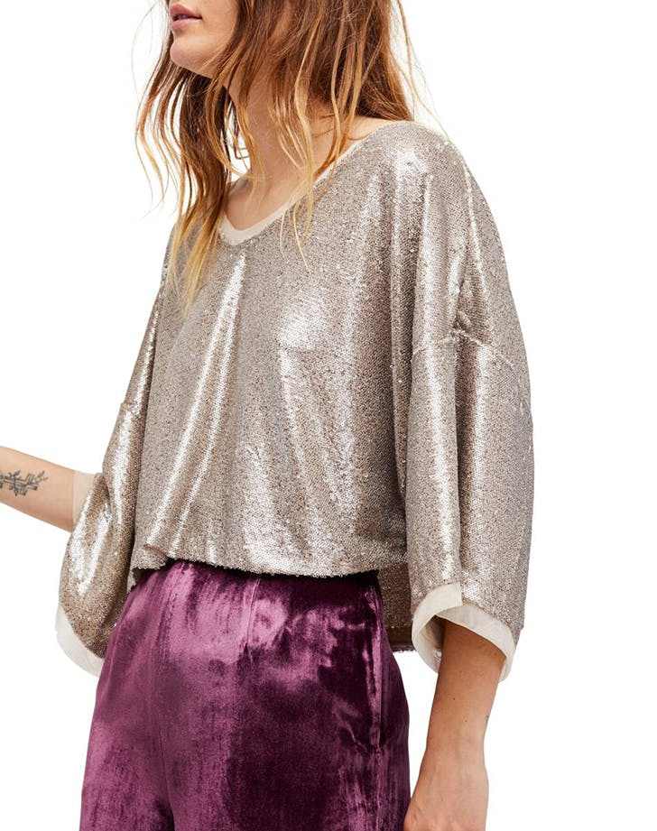sequined looks slouchy top
