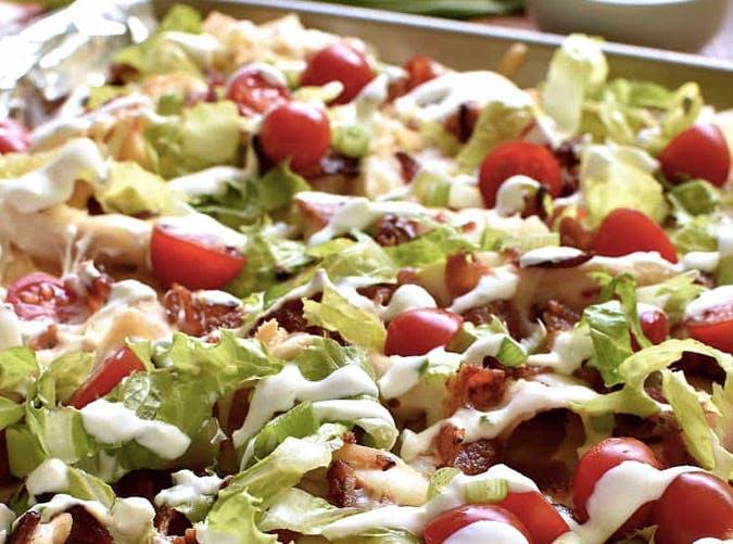sheet pan BLT chicken nachos recipe 501
