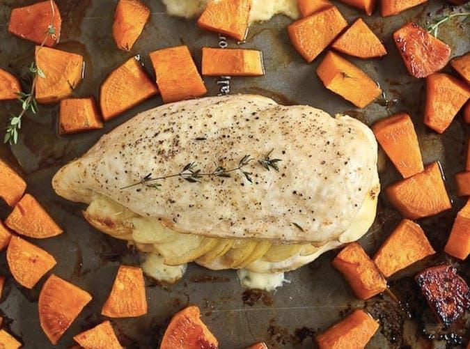 sheet pan apple gouda stuffed chicken recipe 501