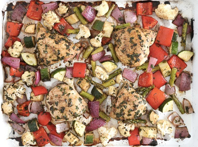 sheet pan balsamic chicken veggies 501