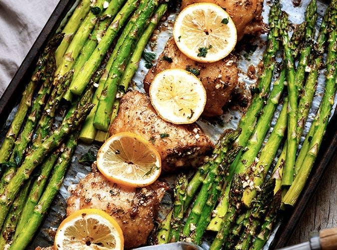 sheet pan garlic butter chicken asparagus recipe 501