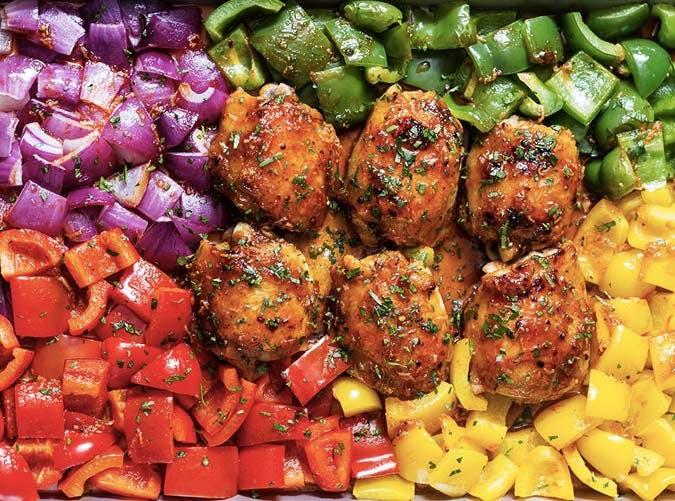 sheet pan honey chili chicken with veggies recipe 501