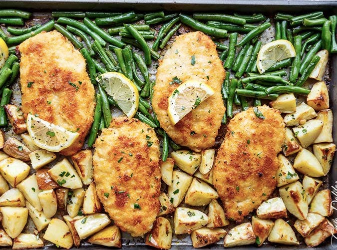 sheet pan lemon chicken milanese recipe 501