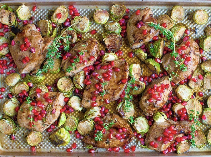 sheet pan pomegranate chicken and brussels recipe 501