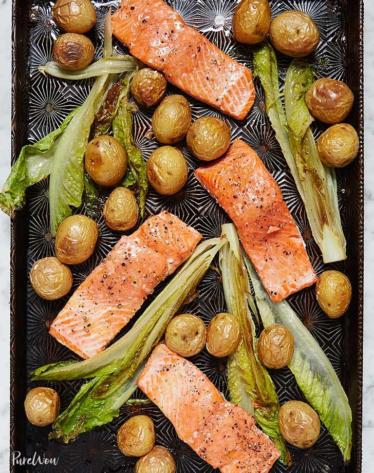 sheet pan salmon potatoes romaine recipe