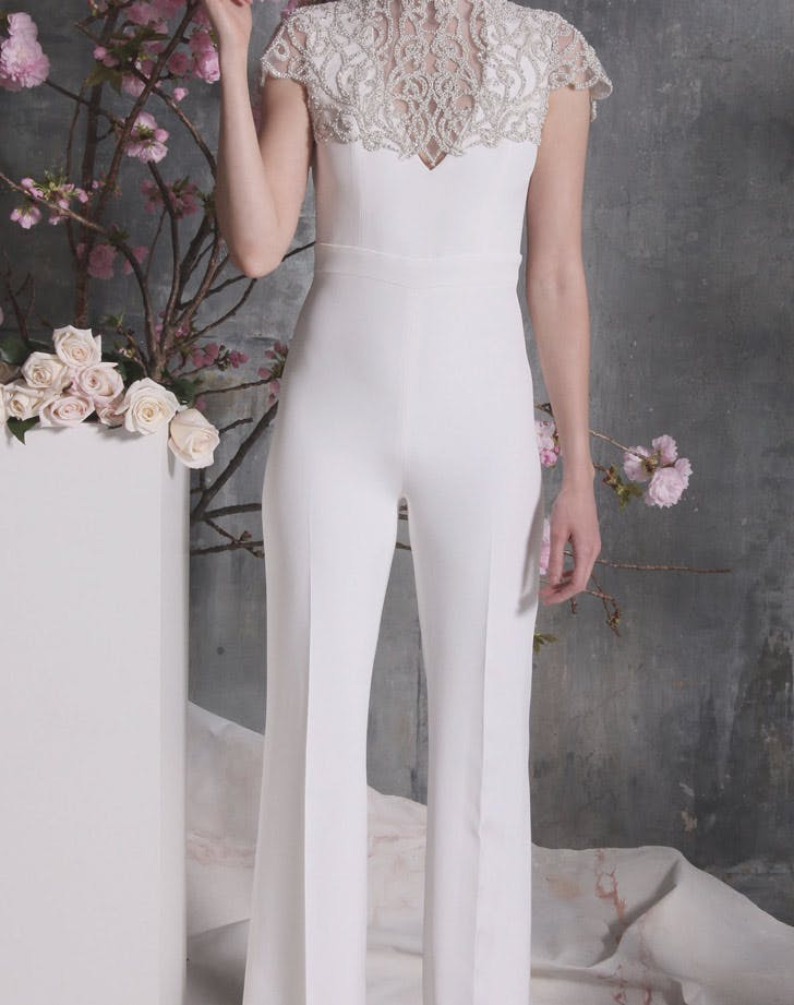silver and white bridal jumpsuit LIST