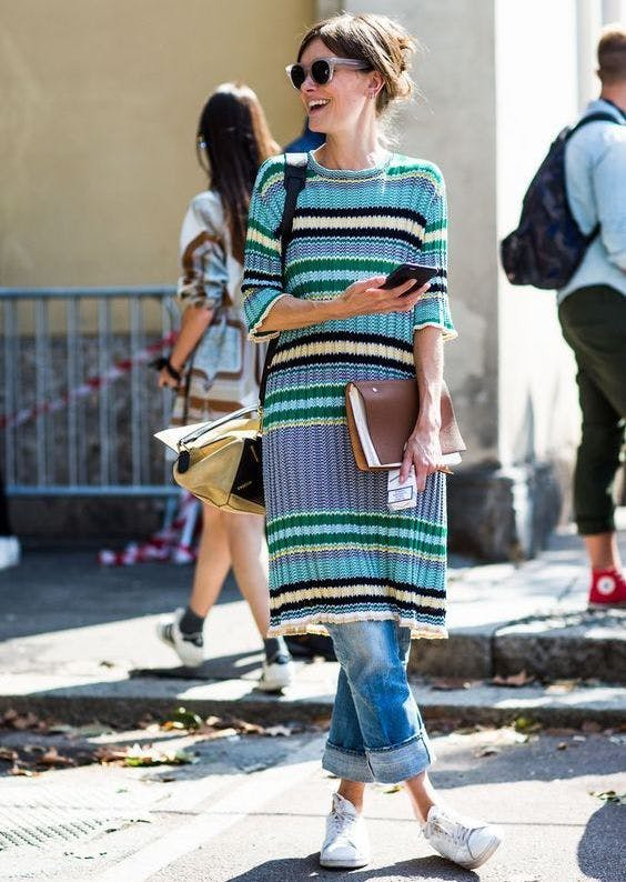 sweater dress with jeans new layering ideas
