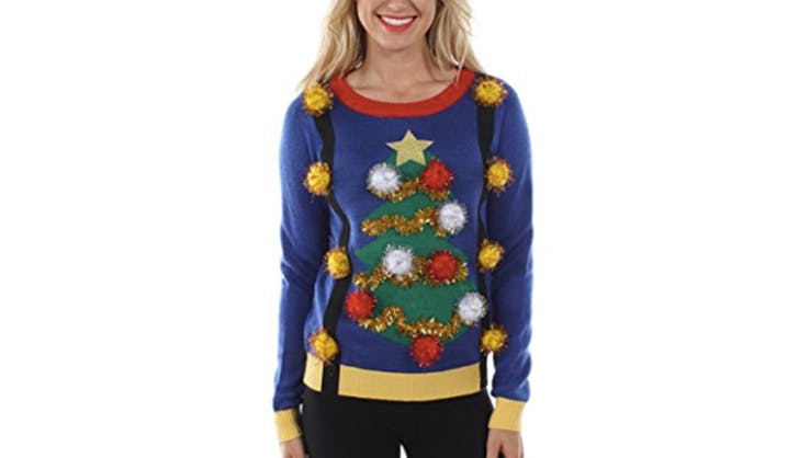 tipsy elves ugly christmas sweater pom pom tree