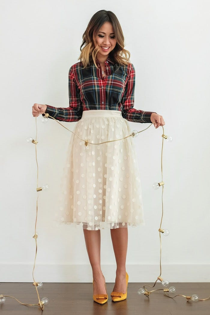 tulle skirt plaid top holiday party december outfit ideas