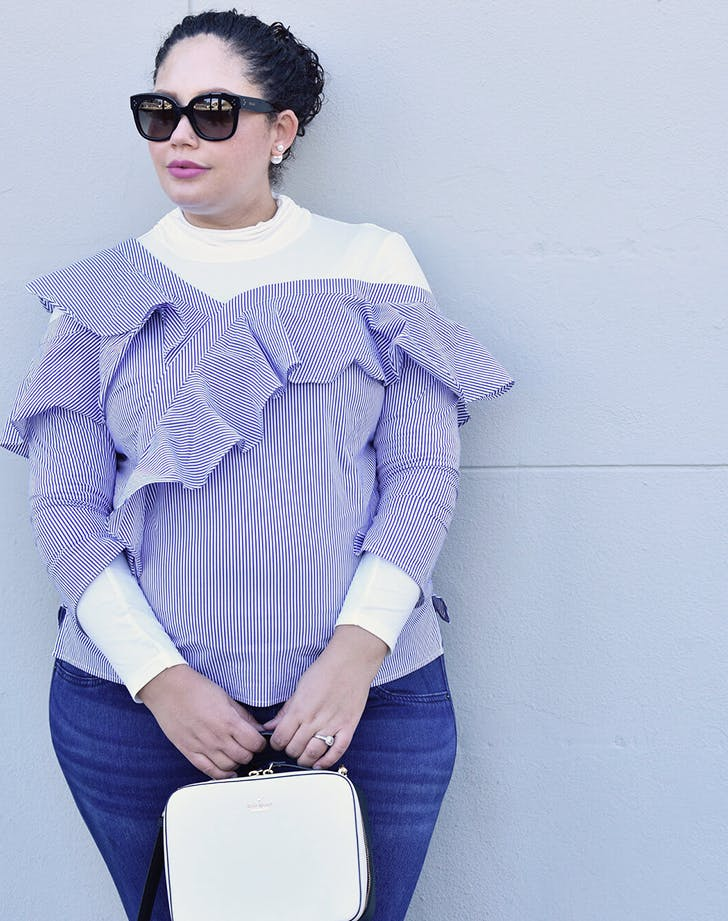 turtleneck under off the shoulder ruffle top girl with curves new layering ideas