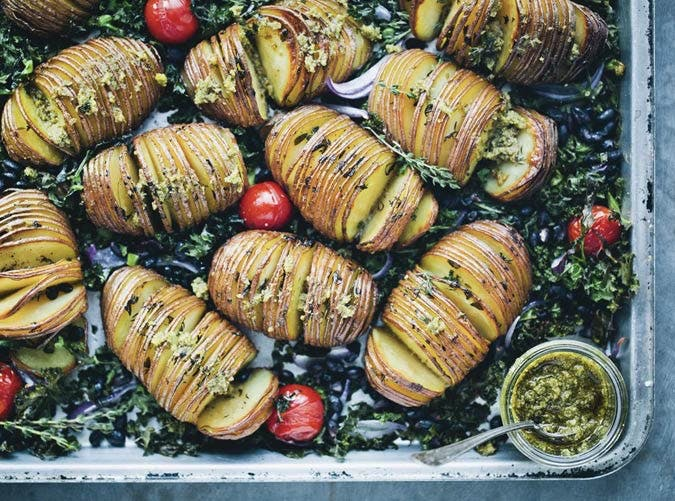 whole30 sheet pan hasselback potatoes kale 501