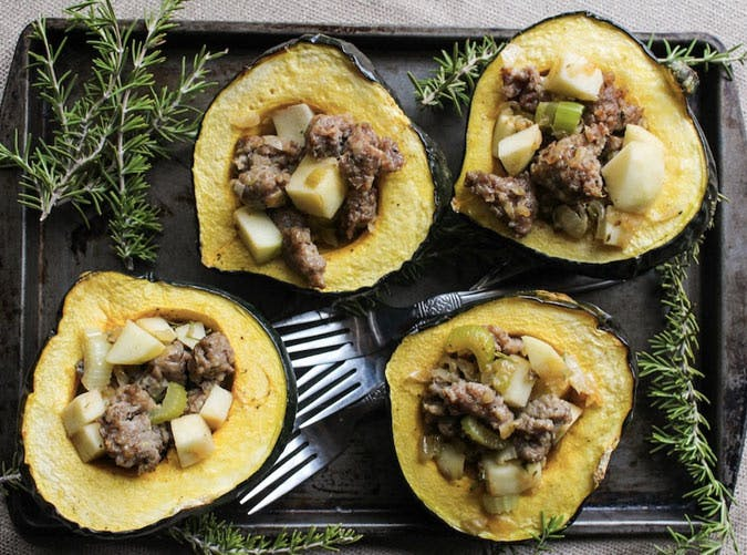 whole30 sheet pan sausage stuffed acorn squash 501