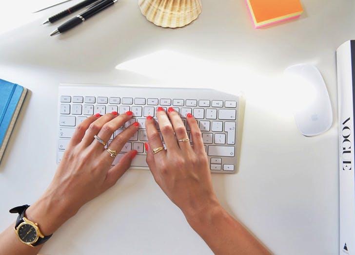 woman typing amazon