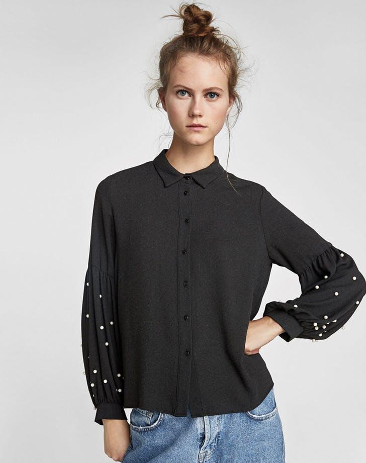 zara pearl blouse