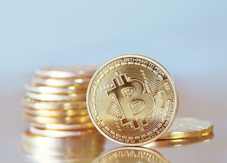 A golden bitcoin