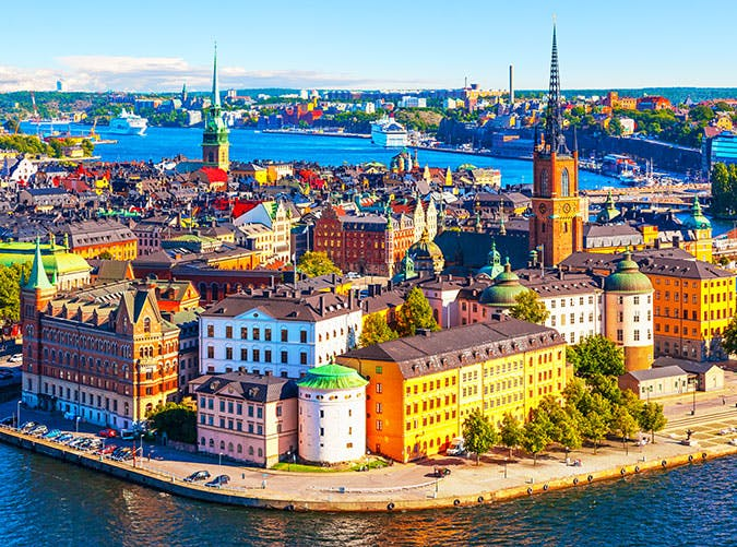 Aerial panorama of Old Town in Stockholm  Sweden