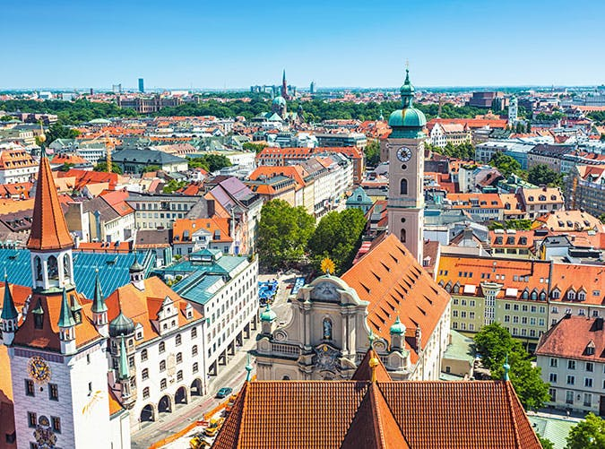 Aerial view of Munich in Germany