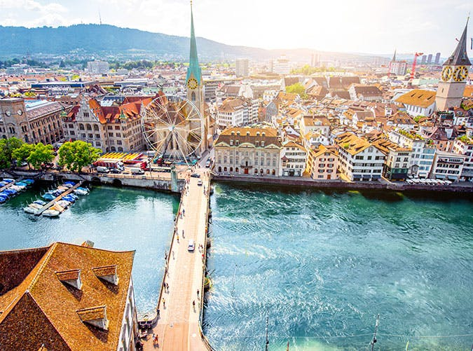 Aerial view on Zurich city in Switzerland