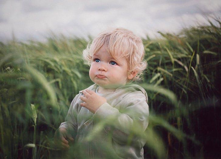 Blonde baby boy in green fields