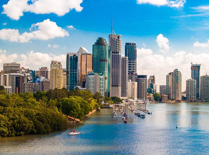 Brisbane city business district skyline in Australia
