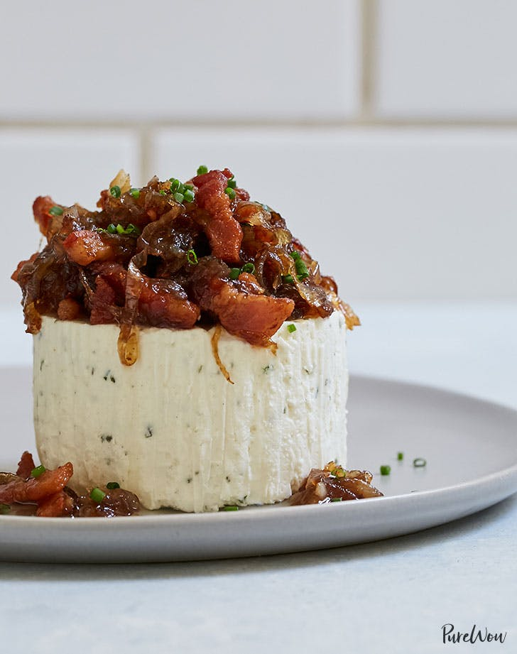 Caramelized onion bacon boursin new years eve dip appetizer