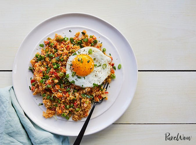 Cauliflower fried rice clean eating dinner recipe
