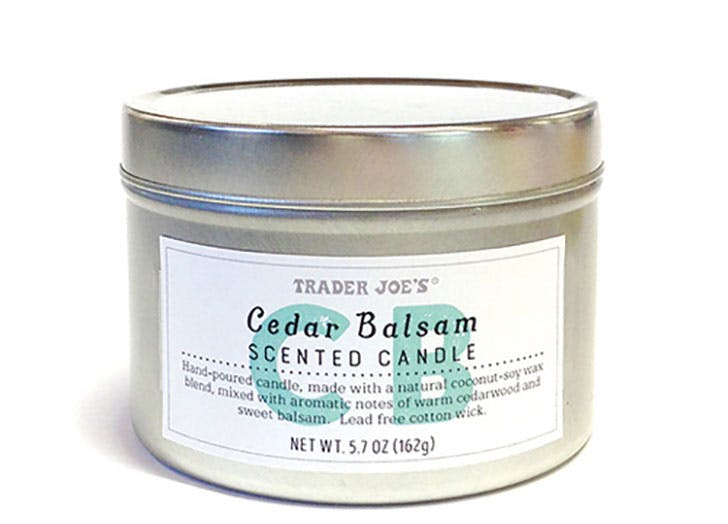 Cedar Balsam Candle Trader Joes last minute stocking stuffer
