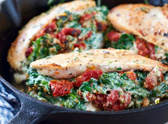 Chicken Breasts Stuffed with Ricotta  Spinach and Sun Dried Tomatoes