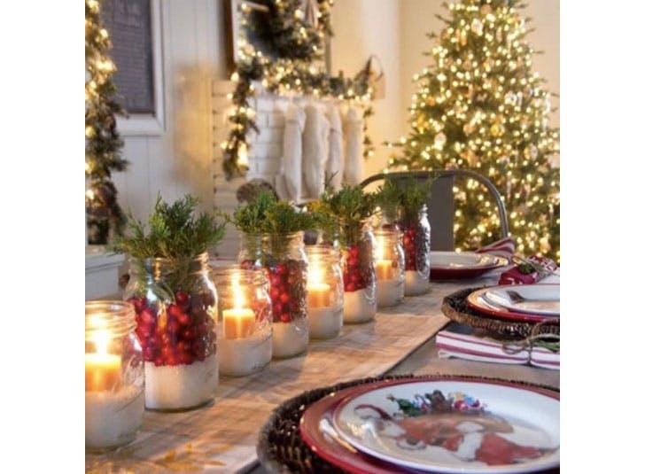 Christmas mason jars on the table1