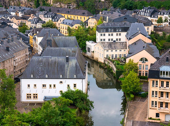 City of Luxembourg along the river Alzette
